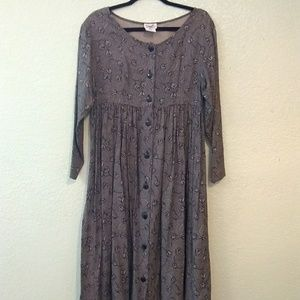 Vintage rose midi button up pleated dress USA made
